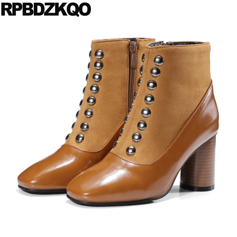 Booties Casual High Heel Chunky Side Zip Boots Shoes Suede Square Toe Rivet Short Autumn Metal Brown 2017 Ankle Ladies Female short brown high quality chunky fall round toe front lace up casual ankle boots autumn shoes genuine leather women booties heel