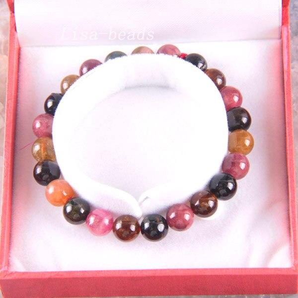 """Здесь продается  Free Shipping Fine Jewelry Stretch Multi-color 10MM Round Beads 100% Natural A Tourmaline Bracelet 7.5"""" with Box 1Pcs J002  Ювелирные изделия и часы"""