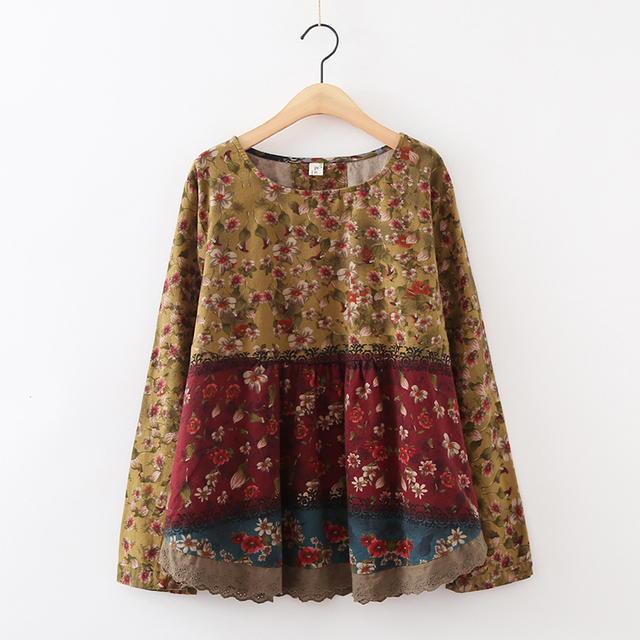 889f7c18a5809 Mori Girl Hippie Boho Bohemian Retro Vintage Floral Loose Long Sleeve  Cotton Chemise Femme Ladies Tops