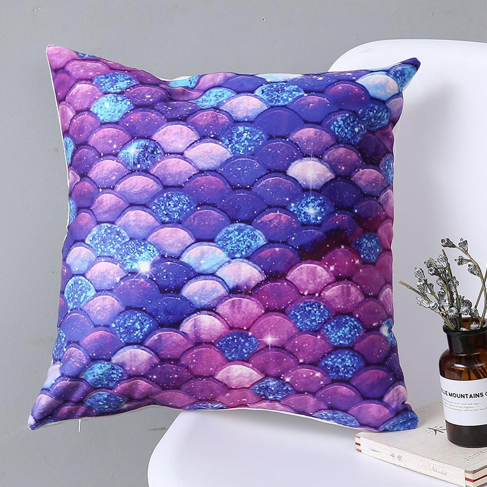 Double Side Print Abstract Art Decor Mermaid Scales Plush Pillow Case Cushion Cover Creative Gift Factory Direct Sales