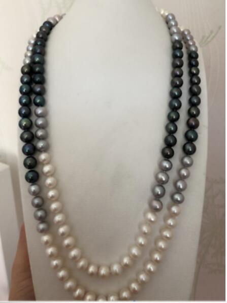 gorgeous 8-9mm south sea round multicolor pearl necklace 48gorgeous 8-9mm south sea round multicolor pearl necklace 48