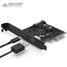 Qicent pu31-1p1c-bk usb 3.1 type-c & тип-2-портовый pci express gen ii 10 гбит/с для рабочий стол-черный