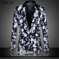 Men's Floral Blazer Business Suit Jacket Dress Blazer Slim Wedding Veste Homme Mariage Free Shipping Size:M- 5XL 6XL 9868