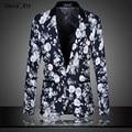 Men's Floral Blazer Business Suit Jacket Dress Blazer Slim Wedding Veste Homme Mariage Free Shipping Size:M- 5XL 6XL 9868