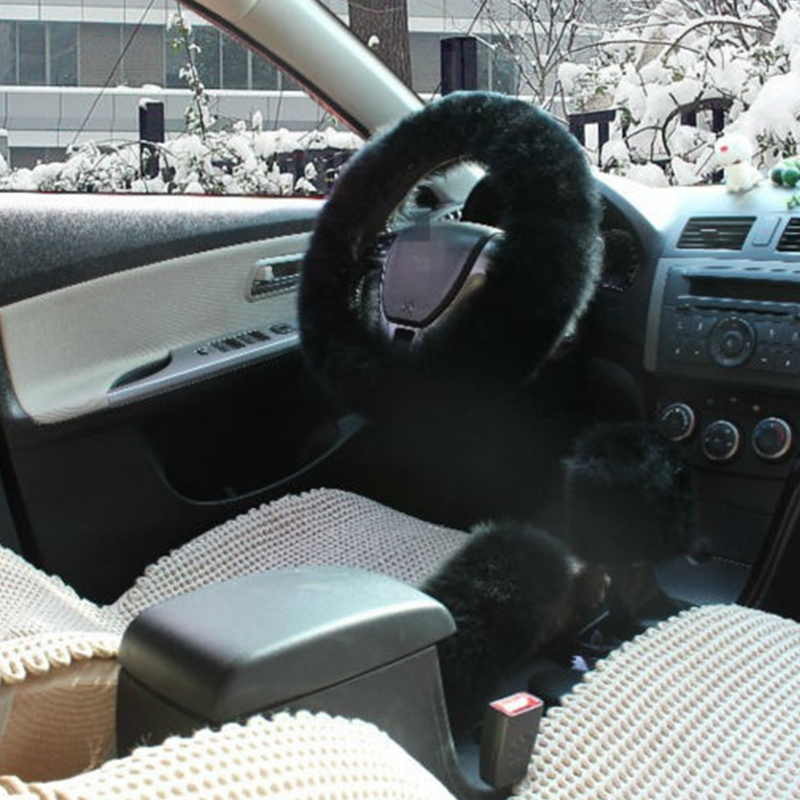 3PCS SET Autos Steering Wheel Cover Hand Brake Gear Knob Covers Black Wool Long Plush Fluffy