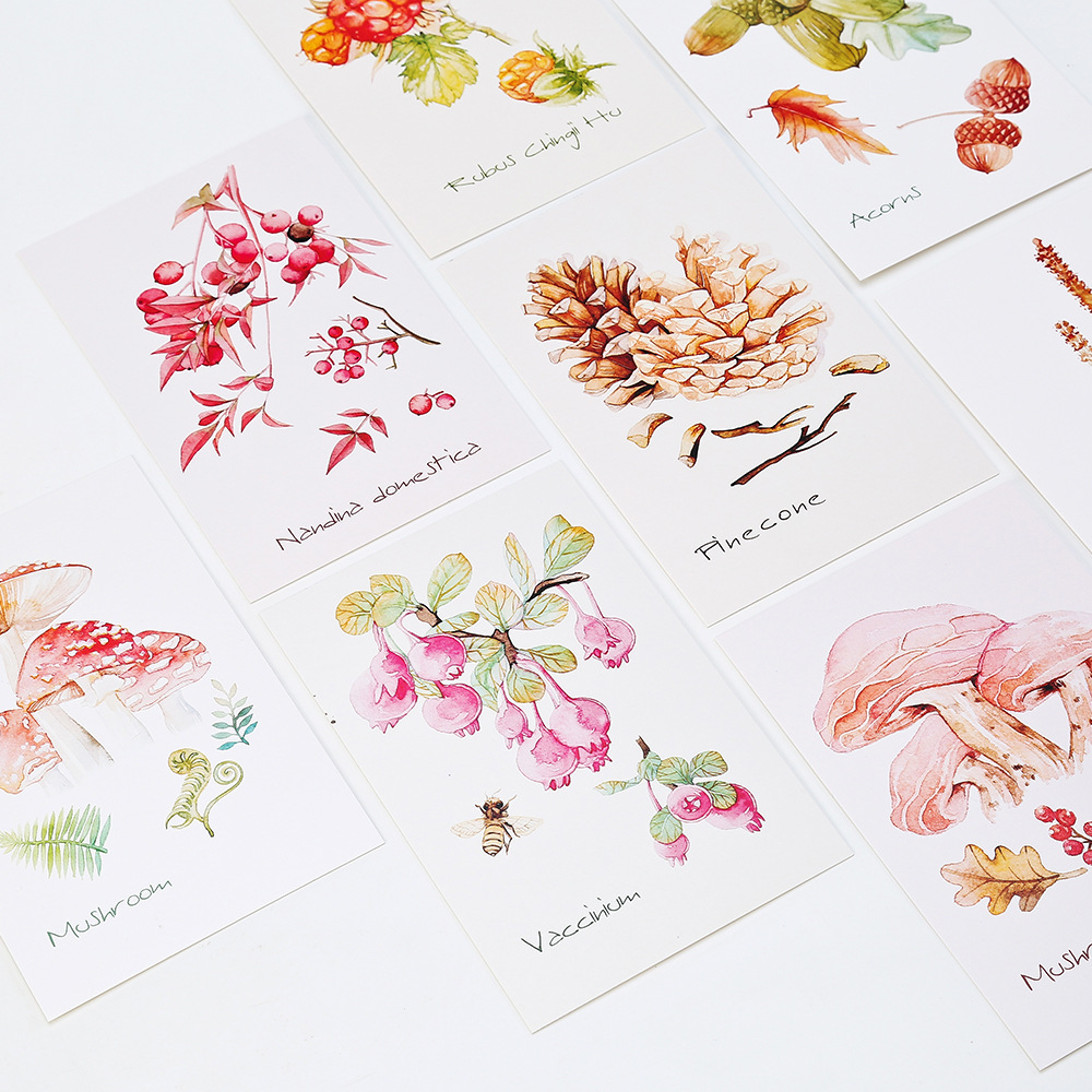 30 CARDS/PACK Natural Fruits Watercolor THE GIFT OF MOUNTAIN Postcards Gift Cards DIY Message Card 350G Paper 3d laser cut pop up greeting cards happy birthday postcards vintage chic retro peacock thank you gift message cards for girl