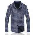 Free shipping autumn & winter plus size big men plaid fleece clothing Turn-down Collar long-sleeve casual thickness shirts M-6XL