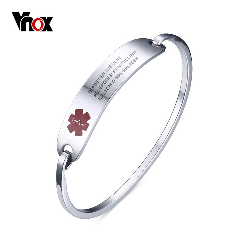 Vnox Free Engraving Medical Bracelets & Bangles ID Jewelry for Women Stainless Steel Metal Not Allergy vnox free engraving unisex stainless steel medical alert id stretch bracelet for men and women jewelry
