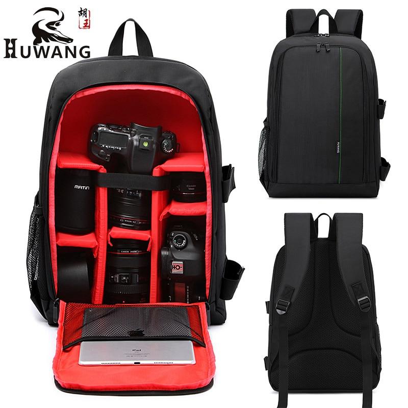 HUWANG Multifunction DSLR Camera Backpack Bag Case For Nikon D7200 D7100 D5300 D3400 D90 Sony A7 II III Canon 750D 200D Lens Bag сумка для видеокамеры lowepro ii dslr canon nikon sony lp2rr