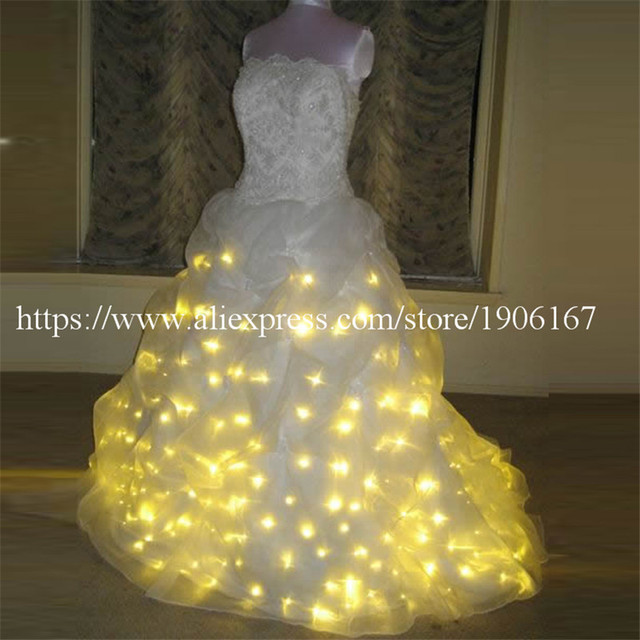 Led Luminous Wedding Dress Light Up Growing Evening Costume Stage Suit Party For Club Bar
