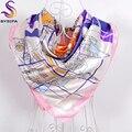Розовый Белый Мусульманские Платки Обертывания 90*90 см Современные Общества Элемент Стиль Женщины Подражали Шелка Большой Площади Шарфы Зима