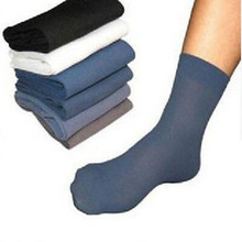 10 Pairs Men Thin Bamboo Fiber Black White Gray Stocking Middle Socks