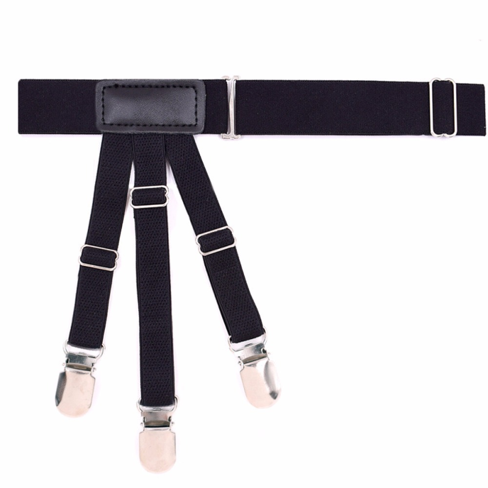 NEW 2Pcs/Set Elastic Leg Suspenders Shirt Stays Holder Straps Metal Locking Clamps