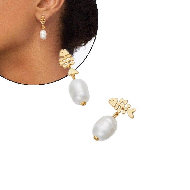 Grand T européen et américain série sans or clair Vintage gommage or perle de poisson Stud/Post boucles d'oreilles poisson perle Stud/Post Earri