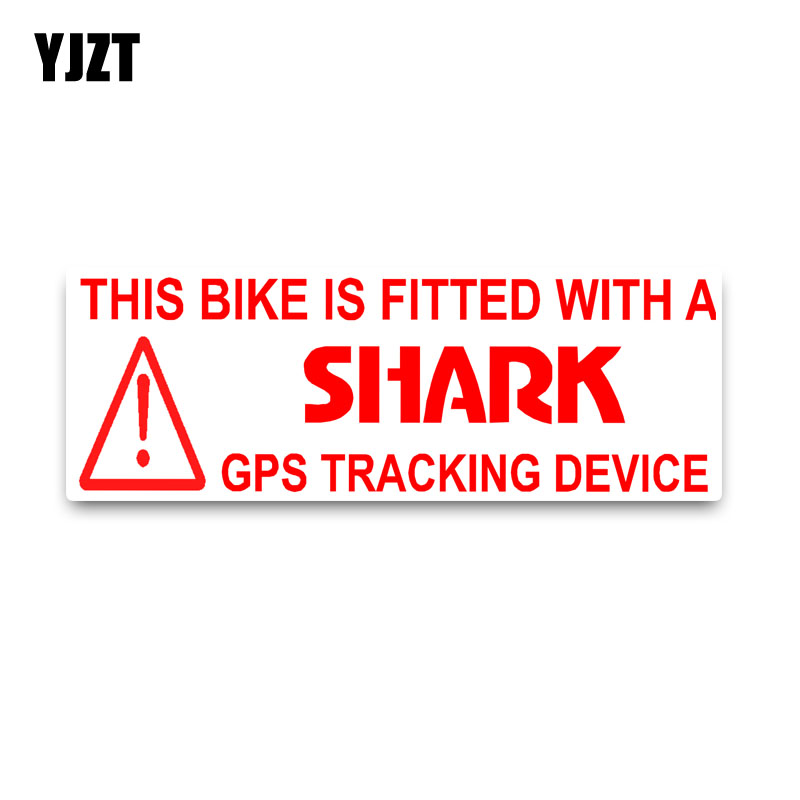 YJZT 13.9*4.7CM <font><b>Bike</b></font> Fitted With Shark <font><b>GPS</b></font> Tracking Car <font><b>Sticker</b></font> Noticeable Decals PVC C1-3068 image