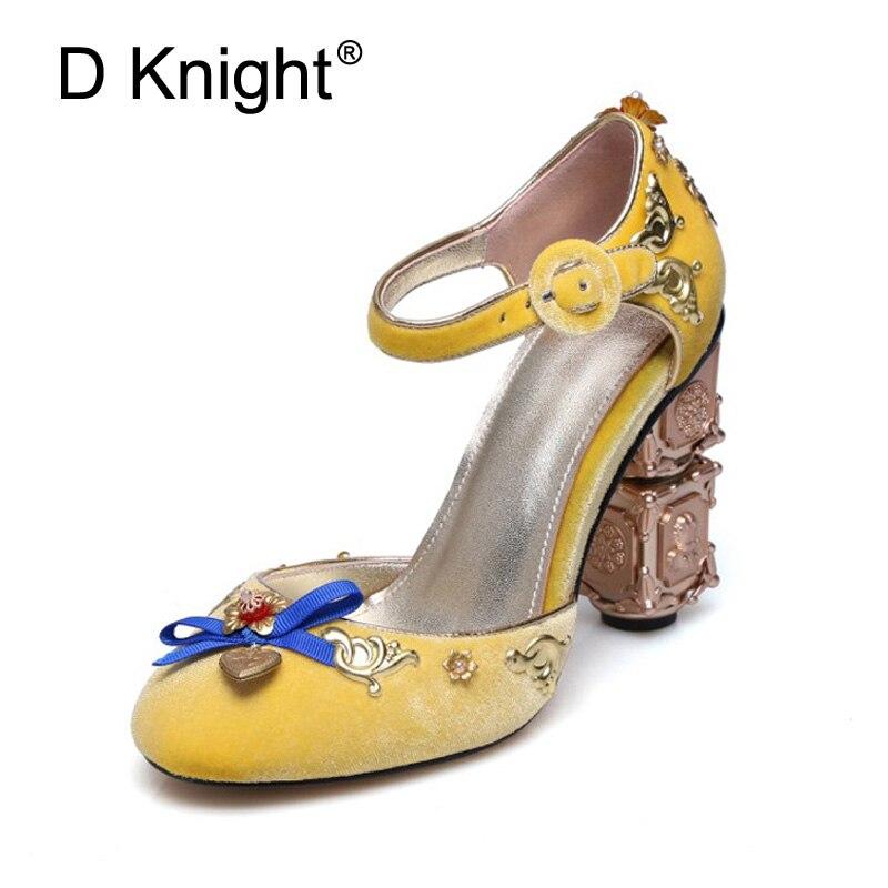 Sandales de mariage d'été velours doré femmes sandales Bride à la cheville fétiche talons hauts en métal talon étrange femme chaussures de mariée de grande taille