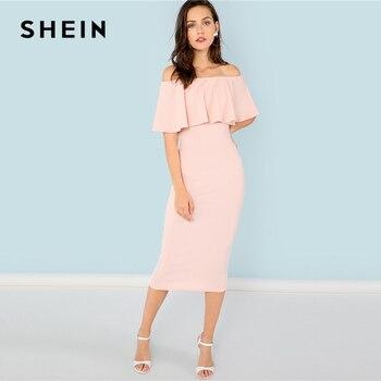 SHEIN Summer Pink Elegant Off Shoulder Dress 1