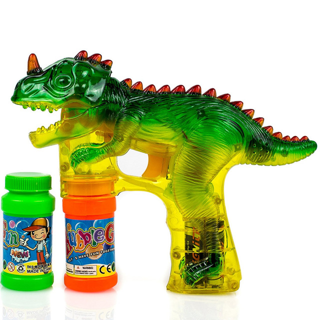 Dinosaur Bubble Shooter Gun Light Up Bubbles Blower with LED Flashing Lights and Sounds Dinosaur Toys for Kids, Boys and Girls 1