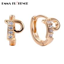 High Quality New Personality Cute Letter 'P' Earring  AAA Cubic Zircon Setting Women Luxury Fashion Jewelry Hoop Earrings Gift