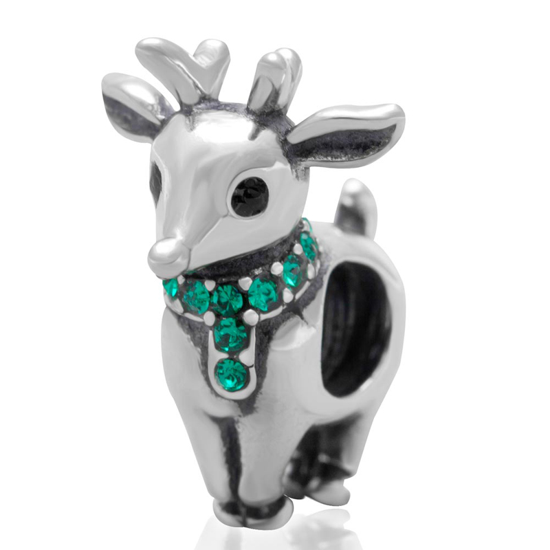 Fits Pandora Charms Bracelet 925 Sterling Silver Bead christmas deer with green cz stone European Charm DIY Jewelry Findings