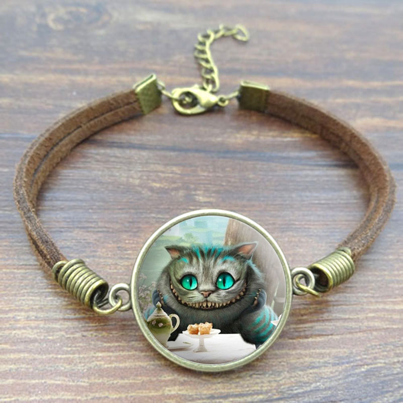 Cheshire Cat Art Image Glass Cabochon Bracelets Vintage Jewlery Brown Rope Charm Bracelet for Women Gift ...