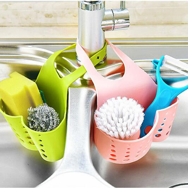 Portable Basket Home Kitchen Hanging Drain Basket Bag Bath Storage Tools Sink Holder Kitchen Accessory vaciar cesta11