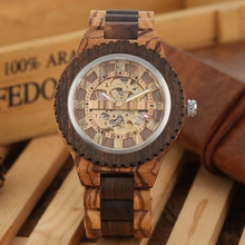 Retro Wood Watch Royal Gold Roman Literal Mechanical Watches Men's Top Luxury Wooden Bangle Watch montre homme automatique reloj