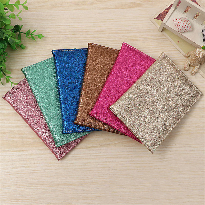 Glitter Sequin PU Leather Passport Holder Bag Business Card Passport Cover Travel Credit Card Holder Cover Driver License Bag