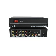 220v 4 channel 1 in 4 out AV RCA Video Audio Splitter