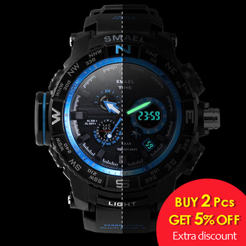 men sport watches SMAEL brand dual display watch men LED digital analog electronic quartz watches 30M waterproof male clock 1