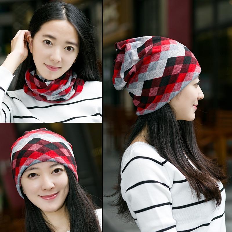 цена на Miya Mona Selling Grid Turban Hats women's spring - autumn Beanies Cuello Lattice Caps Knit Unisex Cotton Soft Bonnets