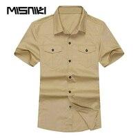 MISNIKI 2018 Nouveau Militaire Hommes Chemise À Manches Courtes Coton Casual Solide Mens Chemises D'été Camisa Masculina