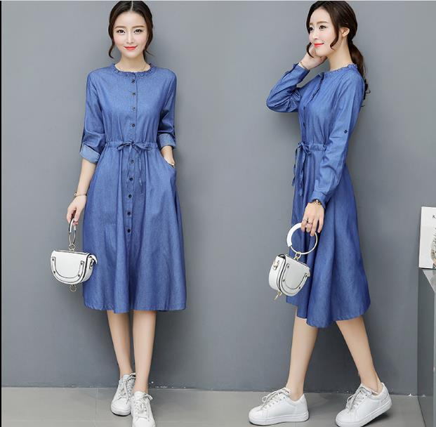 2018 Spring and Autumn waist denim dress women Slim single-breasted long-sleeved round neck casual jeans dress female JR207