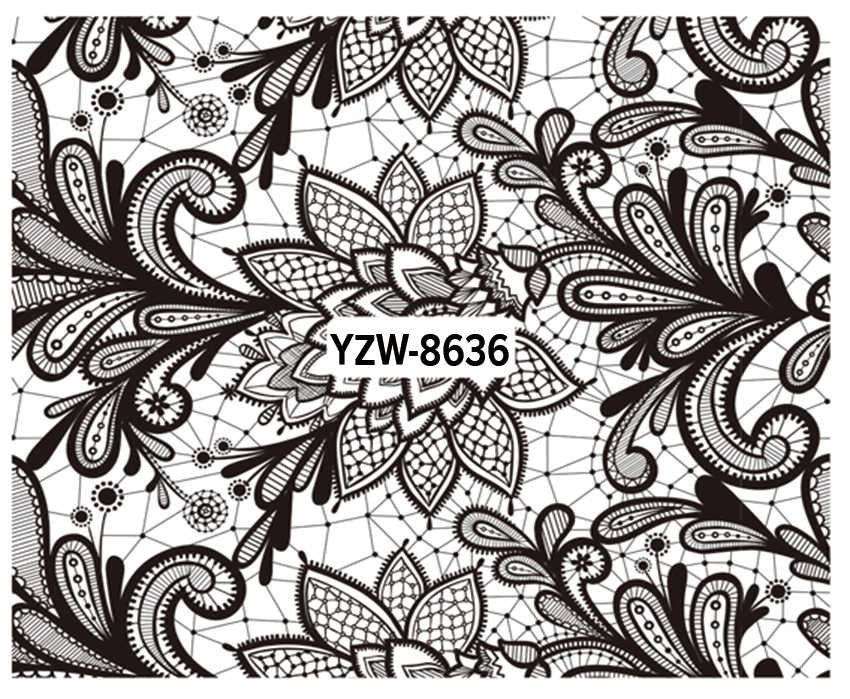 YZWLE 1 Pc Nail Art Water Decals Black Lace Flower Patterns Stickers Water Transfer Nail Art Tattoo