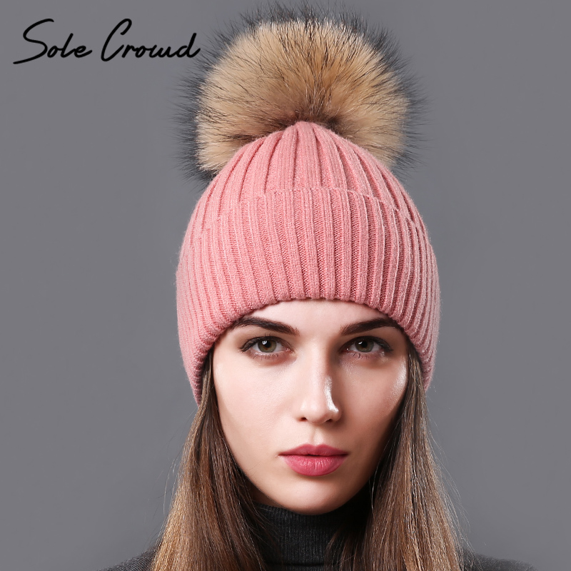[Sole Crowd] Real Natural Raccoon Fur Pompom Hats For Women Autumn Winter Warm Knitted Caps Beanies Fashion Female Hat