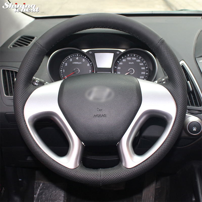 Shining wheat Hand stitched Car Steering Wheel Cover for Hyundai ix35