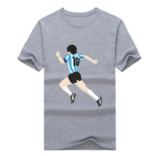 2016 New fashion Argentina diego Maradona dribbled past 5 defenders T shirt 100% cotton  t-shirt
