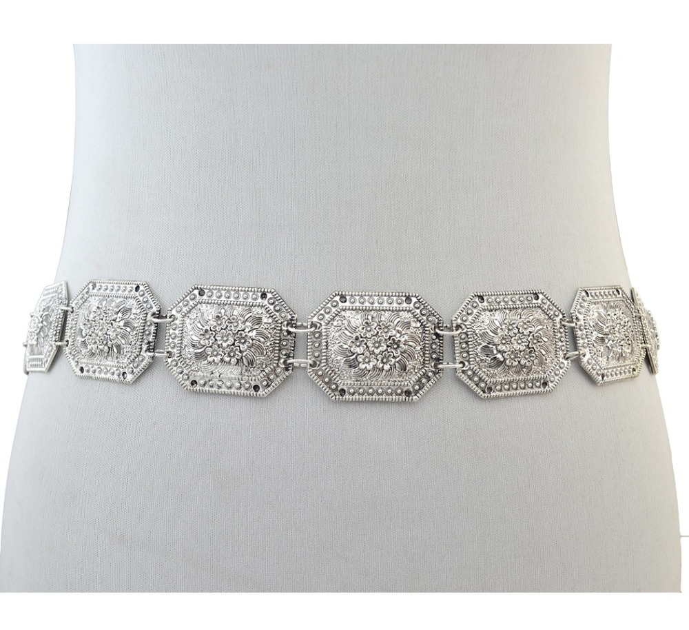 Gypsy Vintage Silver Metal Carving Flower Tribal Body Jewelry Wide Hippie Boho Belly Statement Belt Body Chain Waist Jewelry vintage alloy hollowed body chain