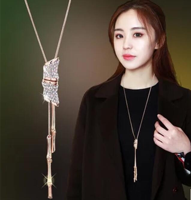 Slub Crystal Long Sweater Chain Necklace Vintage Accessary Crystal - Bizhuteri të modës - Foto 6