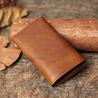 Retro Genuine Leather Key Wallets 2018 Handmade Cow Leather Purse Women's Wallets with Card Holder Snap Closure Lady Wallet