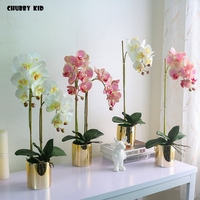 High simulation bonsai artificial Butterfly Orchids arrangements flores artificiais arranjos ikebana in ceramic pot flowers suit