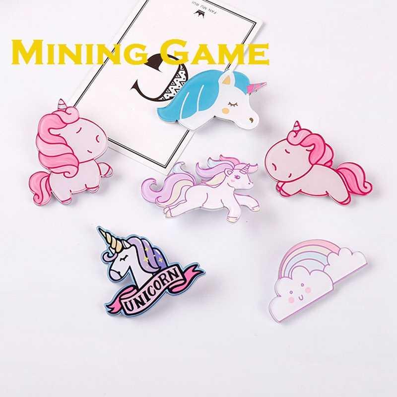Kuda Pelangi Unicorn Lucu Tema Lencana Bros Mainan Mahkota Tas Diy Pakaian Pesta Dekorasi Mendukung Anak-anak Seperti Teman Hadiah