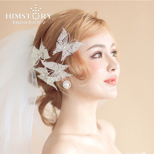 Himstory Sparkling Butterfly Hairbands Soft Chain Sweet Bride hairbands Wedding Tiara Hair Accessories Hairwear Jewelry