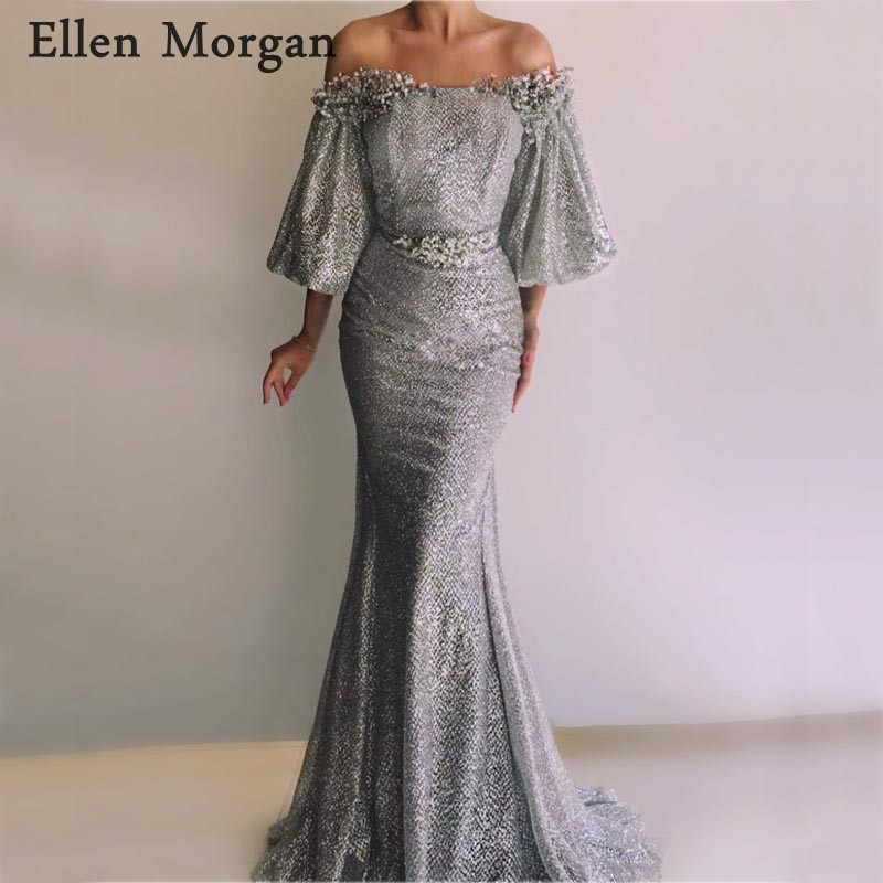 Grey Glitter Fabric Mermaid   Evening     Dresses   Party Elegant for Women Long Off Shoulder Zipper Saudi Arabian Formal Prom Gown 2019
