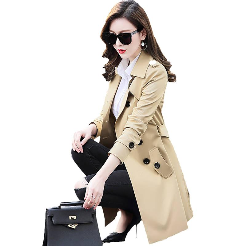 Women Solid   Trench   Coat 2019 Plus Size 6XL Classic Double-breasted Coat Women Spring Autumn Slim Thin Windbreaker Outerwear D45