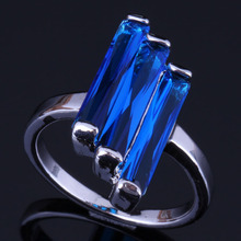 Jolly Rectangle Blue Cubic Zirconia 925 Sterling Silver Ring For Women V0433