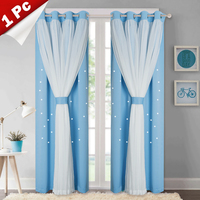 Beautiful Starry Princess Double Shading Dreamy Pink Blackout Tulle Voile Curtain for Girl &Living Room &Wedding Room