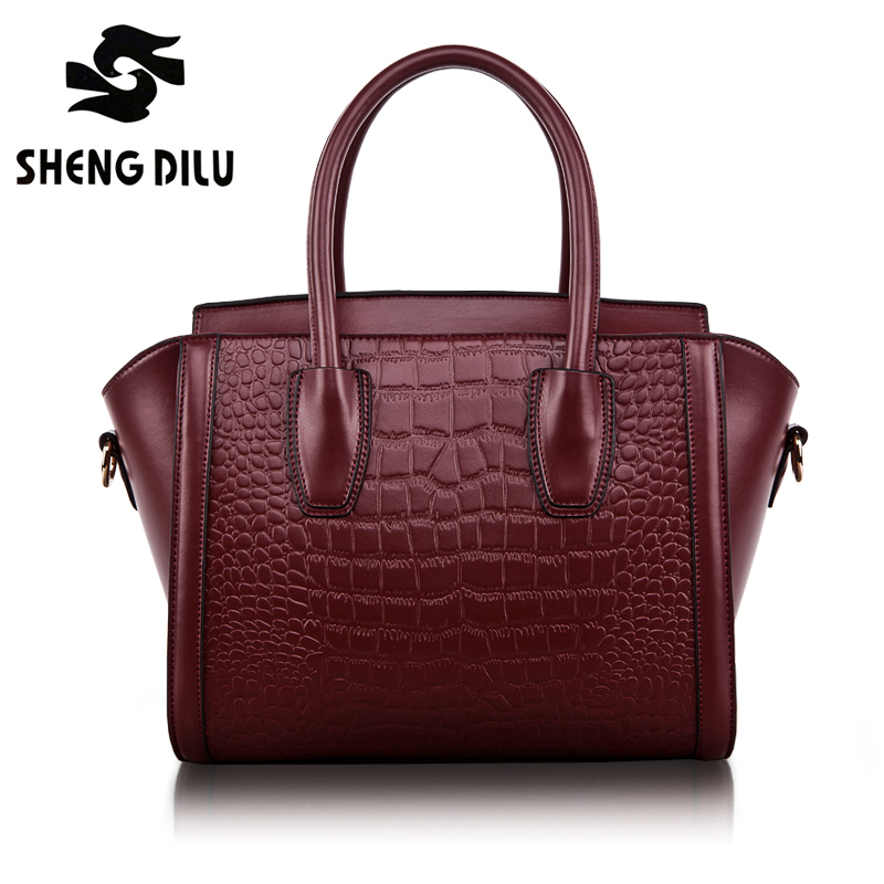 Ladies Genuine Leather Bag Female Shoulder Bags Handbags Women Famous Brands Crocodile Trapeze Crossbody Messenger Bag sac femme kzni genuine leather bag female women messenger bags women handbags tassel crossbody day clutches bolsa feminina sac femme 1416