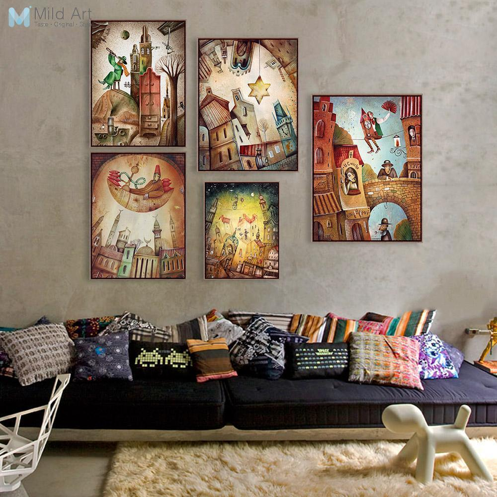 Aquarel Vintage Fantasy City Posters Prints Abstracte fee Dream Star kunst aan de muur foto's Retro kamer interieur Canvas schilderij