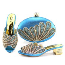 Turquoise blue fashion elegant shoes bag set free shipping shoes and bag to  match women slippers shoes and clutches bag SB8203-3 412b207c6728